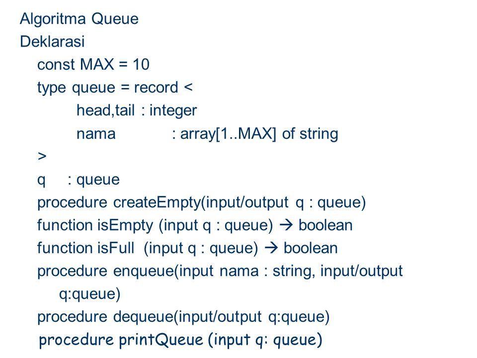 Algoritma Queue Deklarasi const MAX = 10 type queue = record < head,tail : integer nama : array[1..MAX] of string > q : queue procedure createEmpty(input/output q : queue) function isEmpty (input q : queue)  boolean function isFull (input q : queue)  boolean procedure enqueue(input nama : string, input/output q:queue) procedure dequeue(input/output q:queue) procedure printQueue (input q: queue)